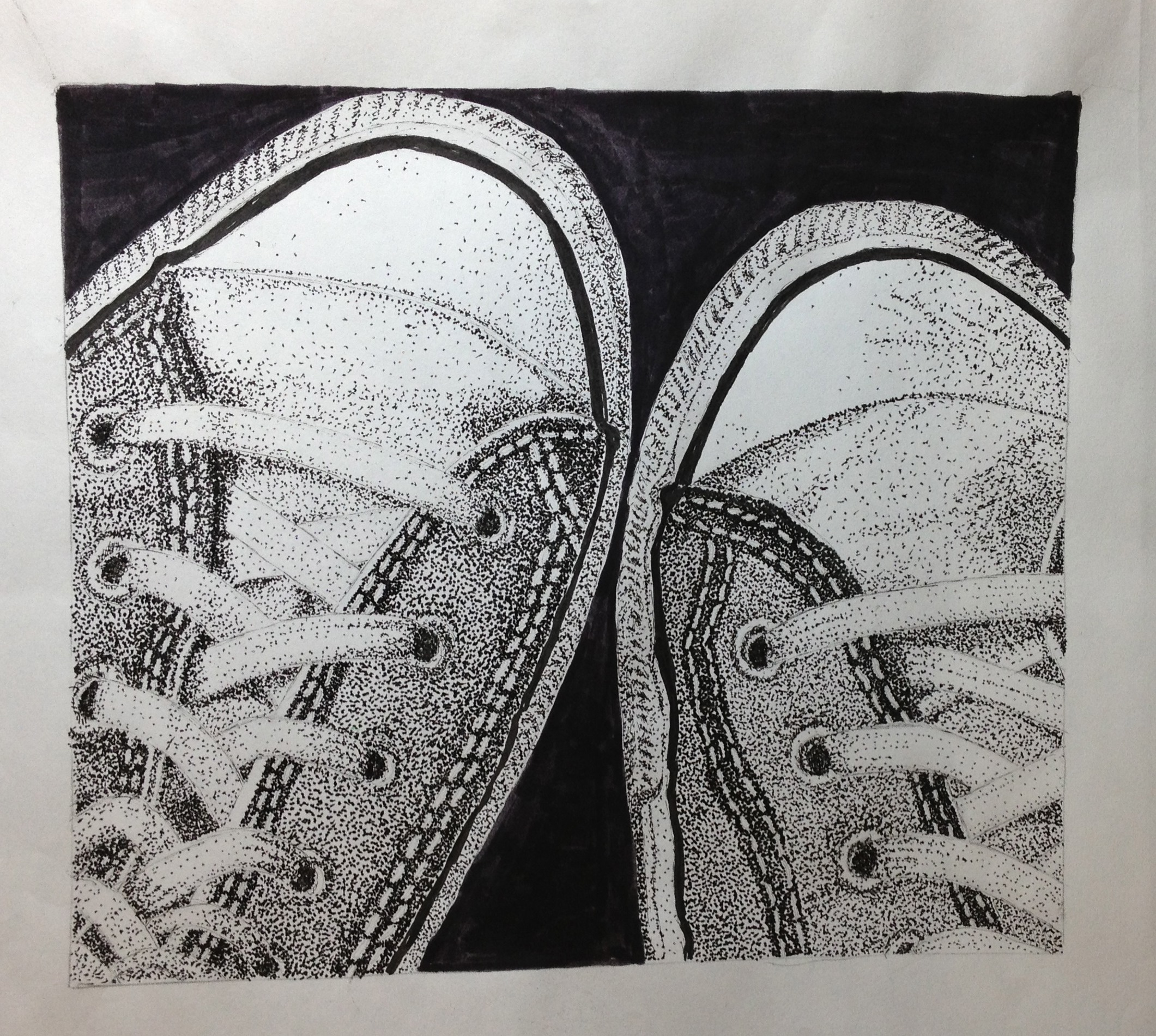 "Pastimes for a Lifetime Student Pen & Ink Illustration ""Shoes"""