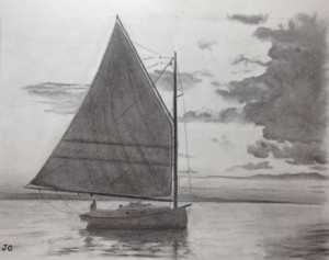 Charcoal Sailboat by John Gleb
