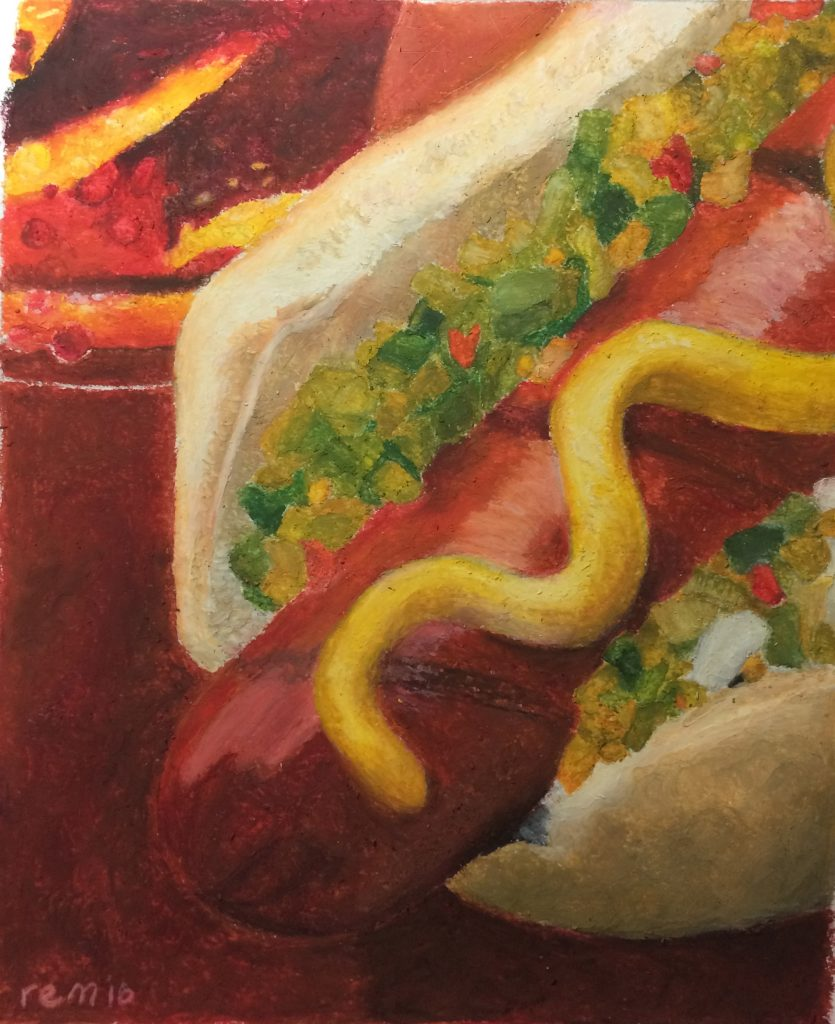 Danielle M., Hot Dog and Soda, Oil Pastel