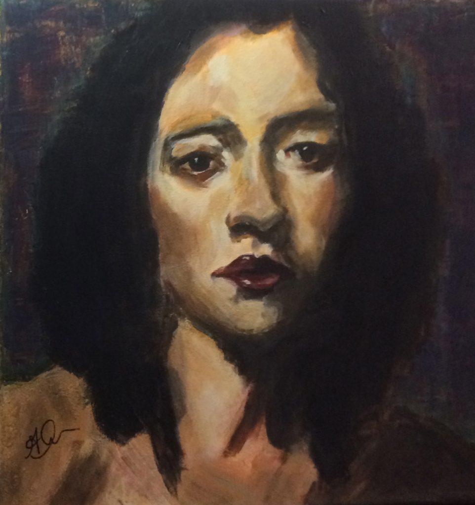 Gina M., Portrait by Malcolm Liepke, Acrylics