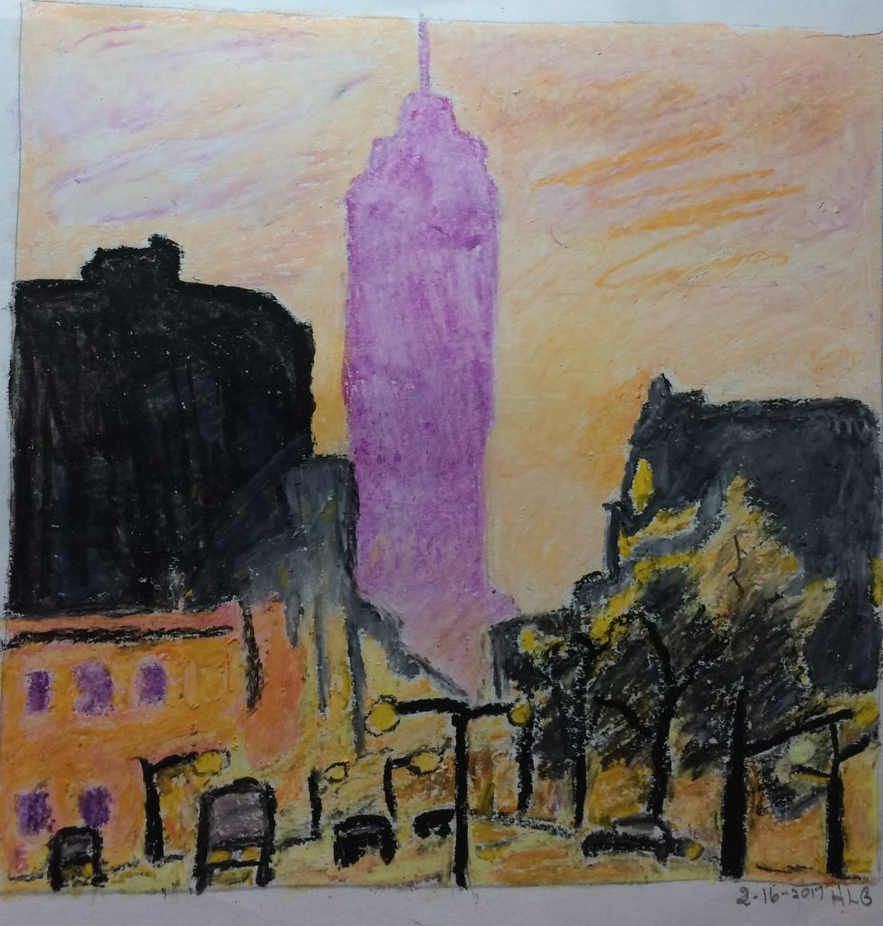 Herb G., Cityscape, Oil Pastel