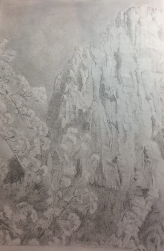 Julie M., Mountain, Graphite