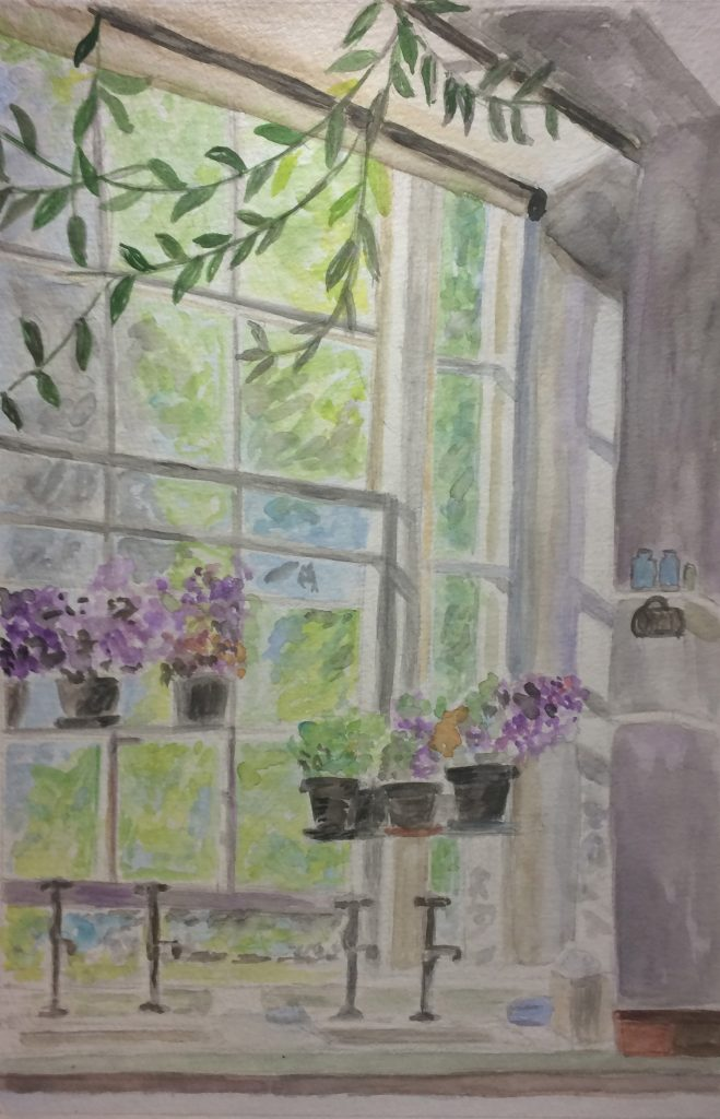 "Susan L., ""Violets in her Window"", Watercolor & Ink"