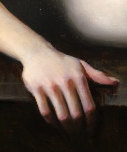 Close up of a hand painted by Jeremy Lipking