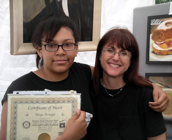 Maya Krueger with Linda Wehrli at a Student Art Showcase