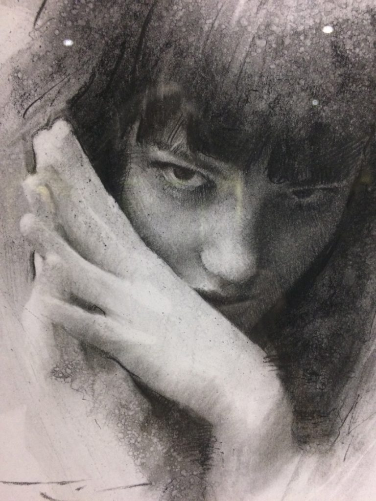 "CASEY BAUGH - ""Determined"" - Charcoal on Paper - 14 x 9.5 inches"