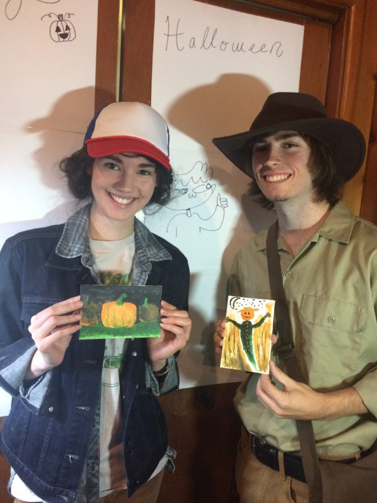 Former Art Student Abby Tilles-Gates with her boyfriend at Pastimes for a Lifetime's 2017 Halloween Party
