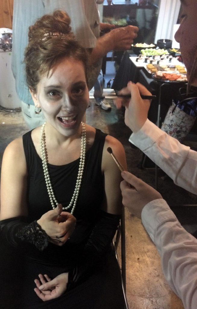 Sophia paints Jessica Lee Sanders as a zombie Audrey Hepburn