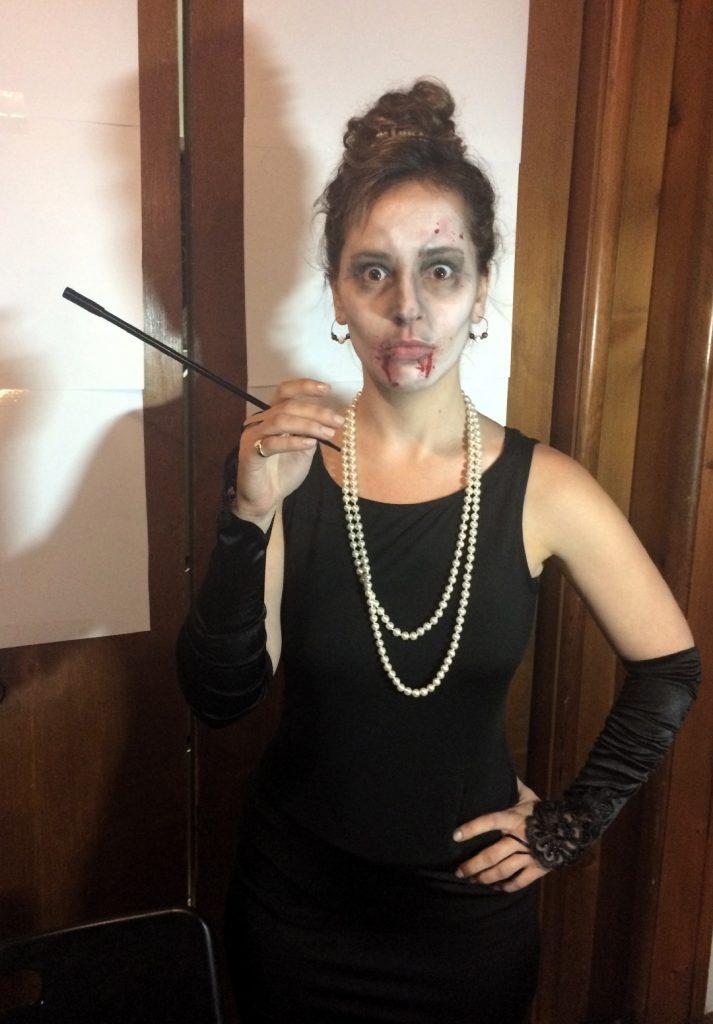 Jessica Lee Sanders as a zombie Audrey Hepburn