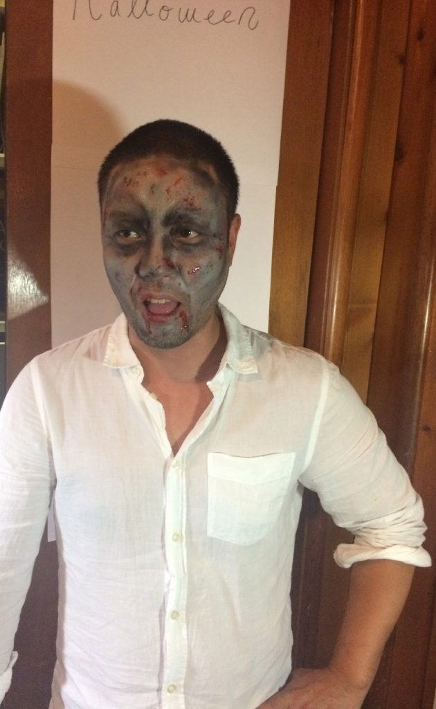 Guest's Face Painted as a Zombie