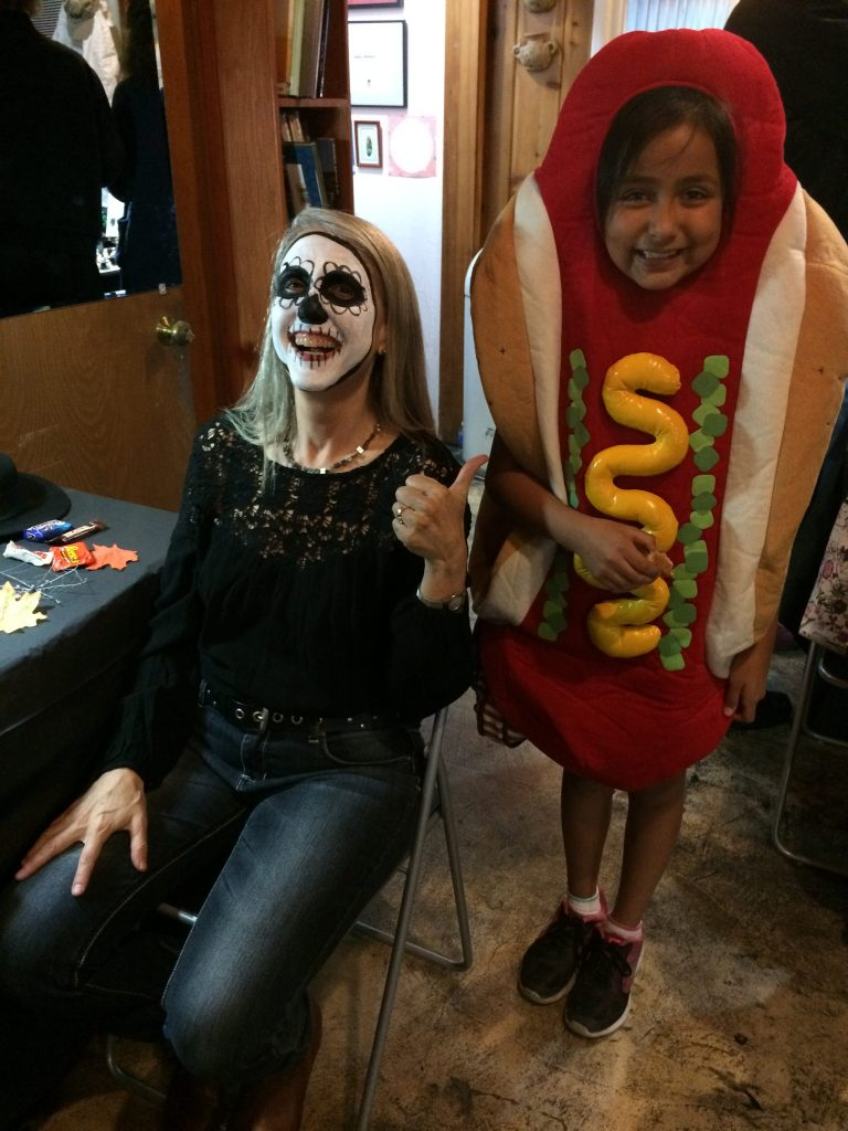 Linda Wehrli with student, Daphne M. in hotdog costume