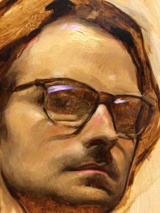 Linda Wehrli's close-up of Jordan Sokol's oil painting, Self Portrait with Glasses