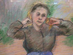 """Camille Pissarro """"Peasant Arranging her Scarf"""""""