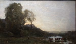 "Jean-Baptiste-Camille Corot ""The Ford with Five Cows)"" 1865"