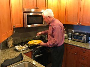 John Salmon serving salmon
