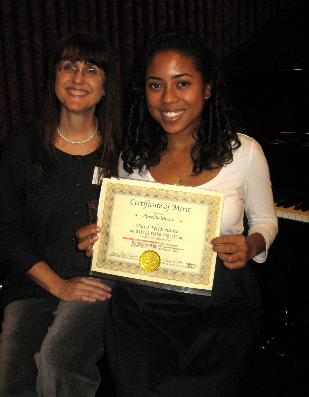 Pastimes for a Lifetime piano student, Priscilla Moore and Linda Wehrli Dec. 2009
