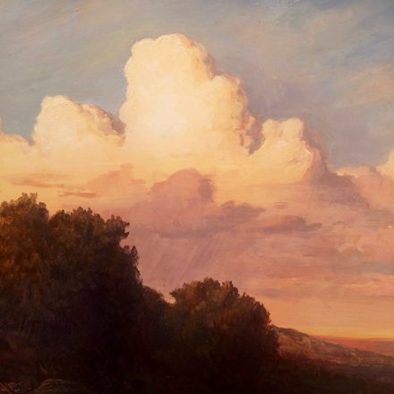 "Lauren Sansaricq - ""Sunset in the Western Landscape"" Oil on Panel - 14 x 18 inches"