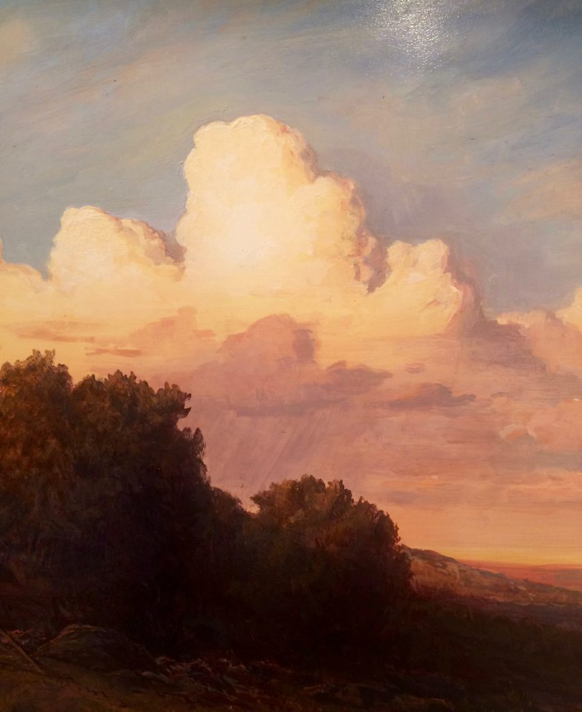 """Lauren Sansaricq - """"Sunset in the Western Landscape"""" Oil on Panel - 14 x 18 inches"""