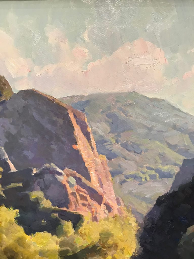 "Calvin Liang, ""Malibu Creek"" Oil on canvas, close-up"