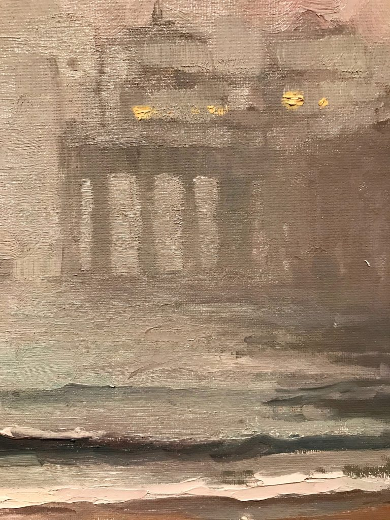 "Michael Obermeyer, ""In a Fog"" Oil on canvas close-up"