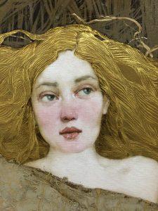 """Artem Rogowoi, """"Golden Leaf"""", Oil and Gold Leaf on Canvas"""