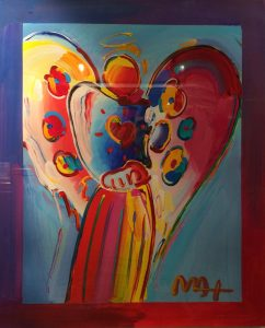 Peter Max Angel on Blue Background at Park West Onboard Auction