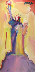 Peter Max Statue of Liberty, Yellow Background at Park West Onboard Gallery