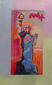 Peter Max Statue of Liberty, Red-Orange Background at Park West Onboard Gallery