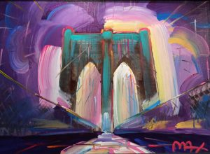 Peter Max Manhattan Bridge Purple Background at Park West Art Auction